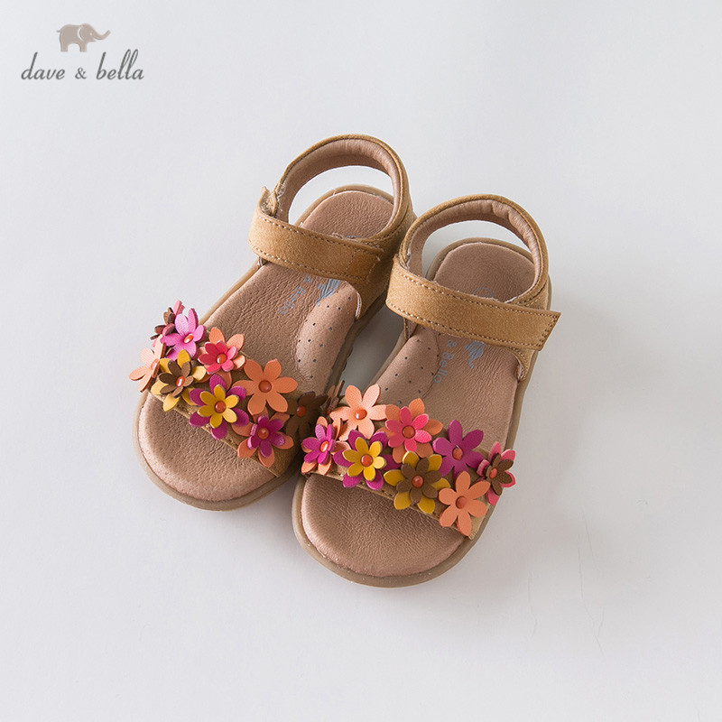 DB13471 Dave Bella Summer Baby Girls Fashion Sandals New Born Infant Shoes Sandals Floral Appliques Shoes