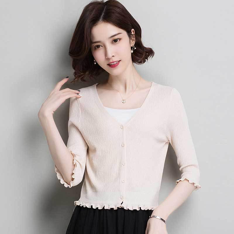 Short AYUSNUE Knitted Cardigan Women Sweater Spring Summer Cardigan Korean Style Cardigans Women Tops 2020 Shawl MY1012 KJ2751 S