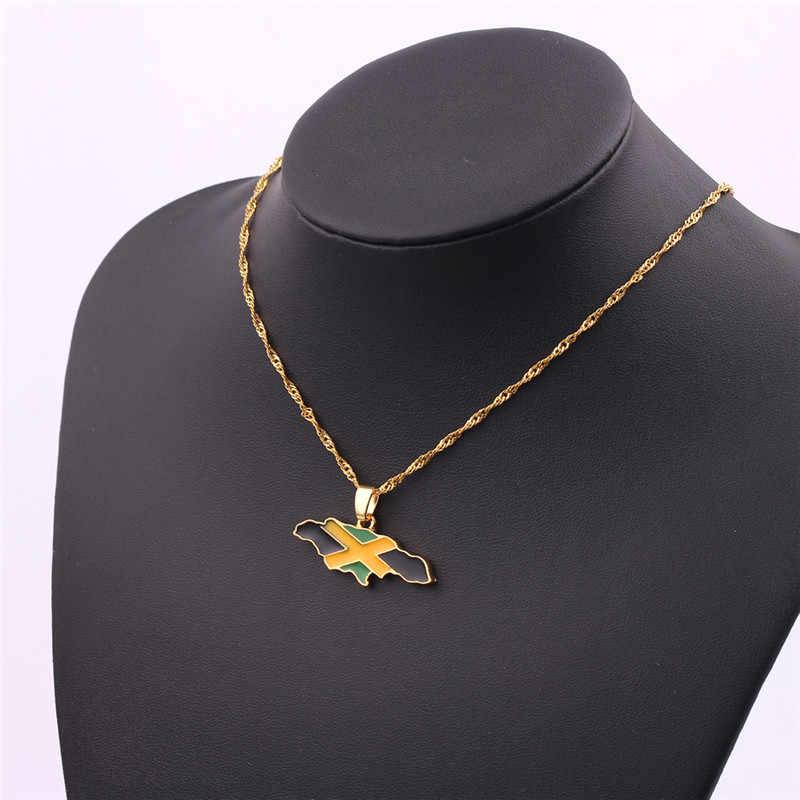 Готическое ожерелье карта Ямайки и национальный кулон в форме флага ожерелье s золотого цвета ювелирные изделия ямайские подарки аксессуары для женщин