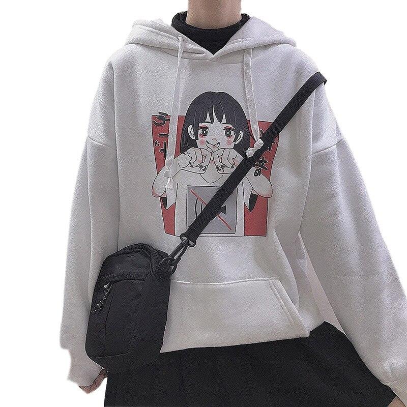 Harajuku Kawaii Anime Teen Girl Hooded Hoodie Japanese Vintage Cute Black Fleece Graphic Sweatshirt Women Oversized Pullover