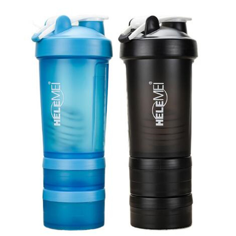 Hot New Whey Protein Powder Shaker Bottles Spring Shaker Cup Gym Three Layers Shaker Protein Milk Shaker Sport Water Bottles image