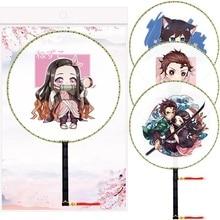 Handheld Fan Dance-Fan Slayer Gift Round Anime Demon No with Tassel Pendant Classical