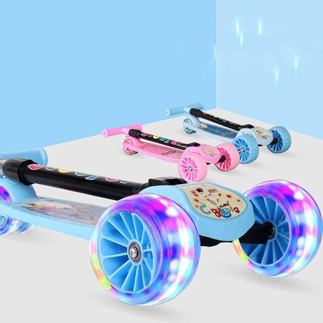 Patinete ajustable para niños, luz LED, 4 ruedas, patinete plegable para niños, ciudad, patineta, regalos para niños