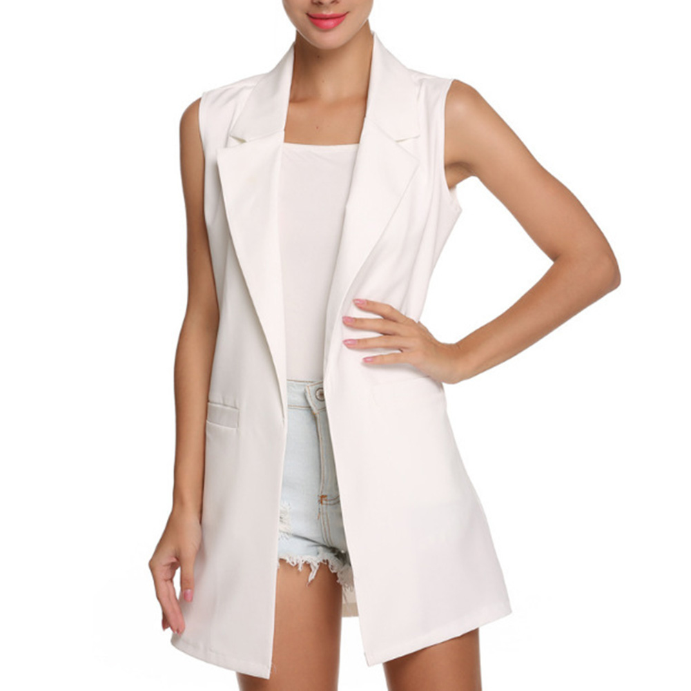 H8301da58b46e4d2382a469bcd0ca8f45G Summer V-Neck Vest Pocket Women Thin Loose Waistcoat Single Breasted Sleeveless Blazer Feminino Short Slim Vest Femme Tide XXL