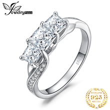 JPalace 3 Stone Princess Cut CZ Engagement Ring 925 Sterling Silver Rings for Women Anniversary Wedding Jewelry