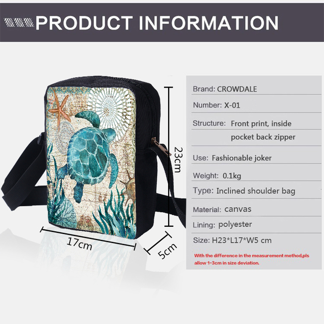 CROWDALE Women Crossbody Bags Marine life Printing for Kids Girls Casual Mini Female Children Messenger Bags Bolsos Mujer 2