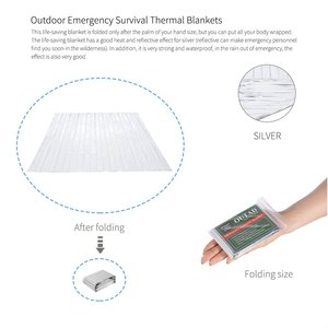 20pcs Emergency Survival Thermal Blanket Outdoor Waterproof Windproof Reusable First Aid Sun Shade Ground Cover