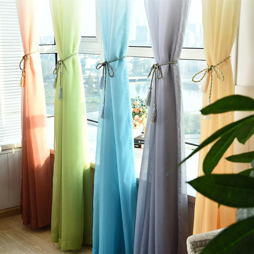 Colorful Sheer Voile Curtains for Bedroom Hotel Pastoral Rustic Gradient Terylene French Window Treatment Drape Gauze 100 * 270