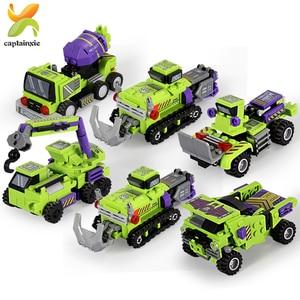 Image 5 - 709PCS 6IN1 שינוי הנדסת כלי רכב רובוט אבן בניין מכונית חופר משאית עיר בנאי ילדי לבנים צעצועים