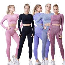 1/2/3 pçs sem costura yoga terno roupas de treino ginásio para as mulheres respirável leggings sportwear mulher yoga conjunto esporte fitness topo