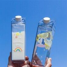 500ml Milk Box Shape Water Bottles Cartoon Rainbow Pattern Plastic Drink Bottle Cute Unicorn Coffee Fruit Juice Cup Drinkware