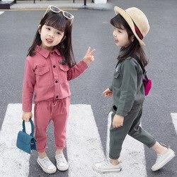 Crianças bebê pouco roupas para meninas primavera outono manga longa casual terno menina conjunto de roupas para 1 2 3 4 5 anos