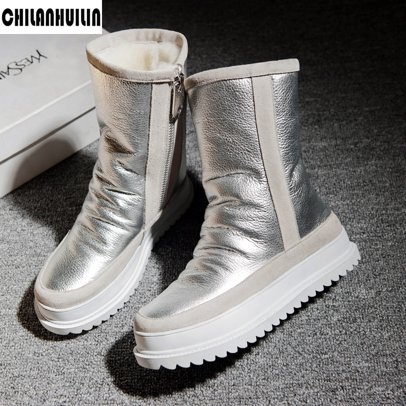 brand winter snow boots leather fur warm snow ankle boots woman fashion round toe short boots platform flat heels riding boots