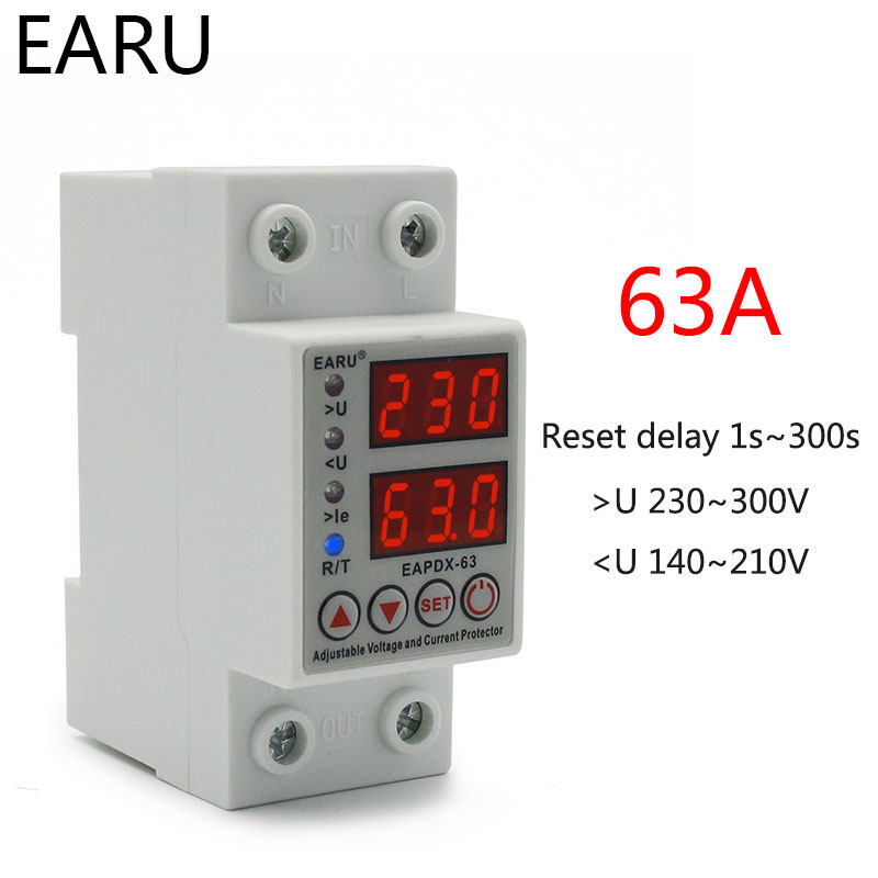 H83024d6d165f4883970e47ad5e34aaa8L - 40A 63A 230V Din Rail Adjustable Over Voltage And Under Voltage Protective Device Protector Relay Over Current Protection Limit