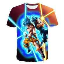 T-shirts de verão dos meninos e das meninas da forma do anime da bola do dragão
