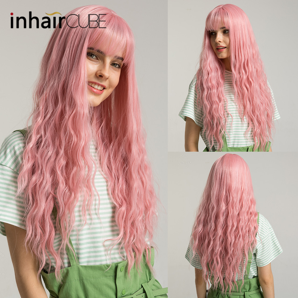 Inhaircube Pink Womens Wigs With Bangs Synthetic Long Hair Curly  Mid Part Lolita Descendants Natural Pastel Free Shipping