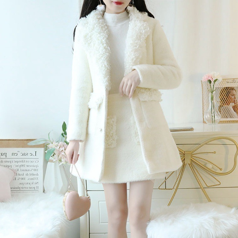 2020 Autumn Winter Elegant Single Breasted Lambswool Coat Mini Skirt Two Piece Set Office Lady Long Sleeve Mink Fur Jacket Set