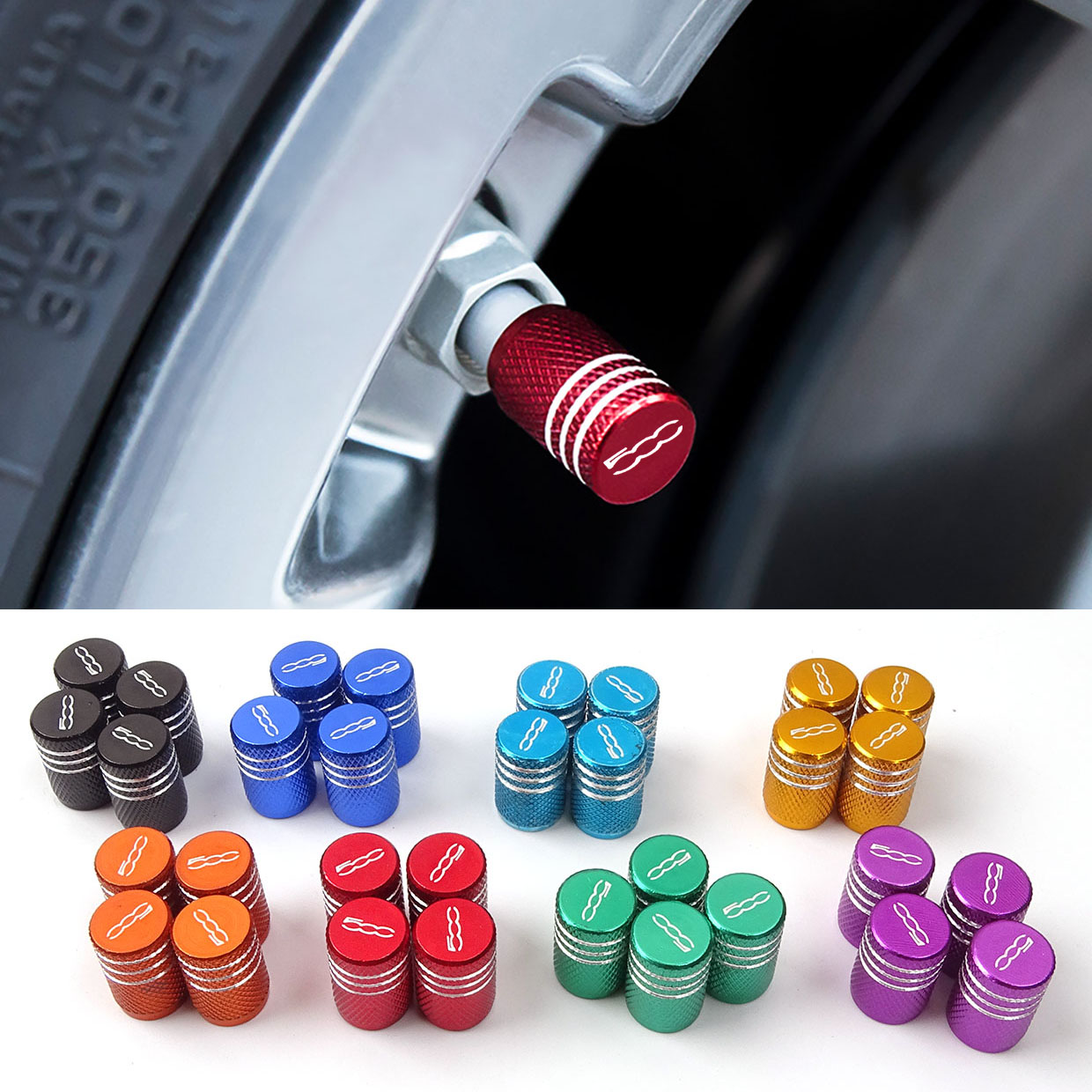 4pcs Metal Wheel Tire Valve Caps Stem Case For Fiat 500 Punto Abarth Stilo Ducato Palio Bravo Doblo Car Accessories