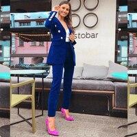 Royal Blue Velvet Office Work Wear Pant Suits OL 2 Piece Sets Solid Blazer Jacket & Trousers Suit For Women Set Femme