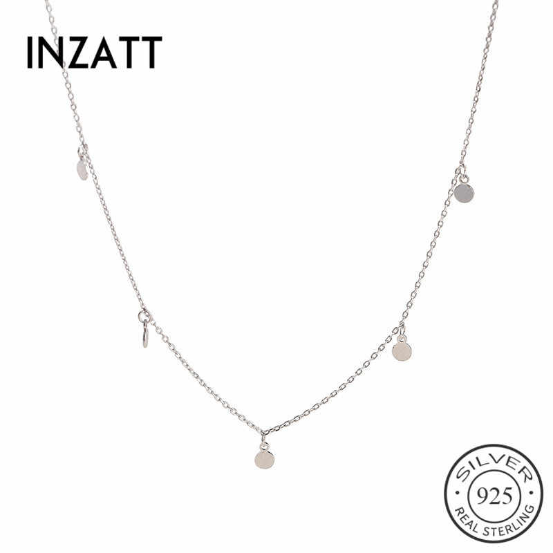 INZATT Real 925 Sterling Silver Geometric Round Choker Necklace For Fashion Women Party Fine Jewelry Gift 2019 Accessories