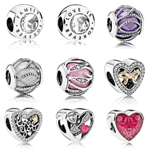 Valentines' Day Wholesale 100% 925 Sterling silver Heart charms Fit Pandora Bracelet Beads For Jewerly Making woodgrain heart pattern valentines day door stickers