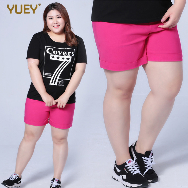 Plus Size Women Shorts Pure Color Cotton Casual Elastic Band Soft - Women's Clothing