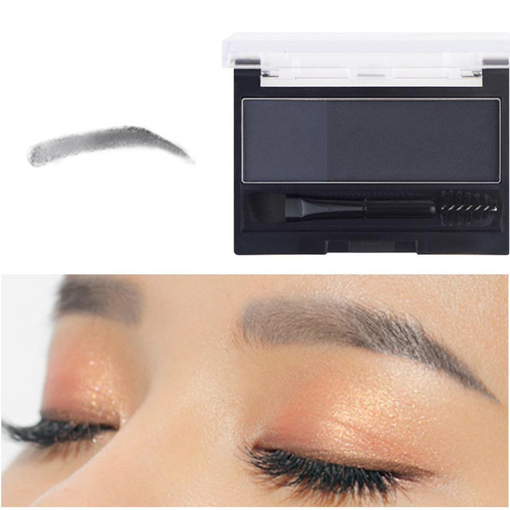 Double Color Eyebrow Powder Makeup Palette Natural Brown Eye Brow Enhancers 3D Eye Brows Shadow Cake Beauty Kit with Brush 5