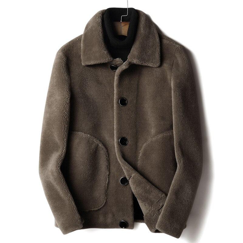 Wool Fur Coat Autumn Winter Jacket Men Real Sheep Fur Coat Double-side Wear Warm Jacket Mens Fashion Jackets L18-3701 YY350