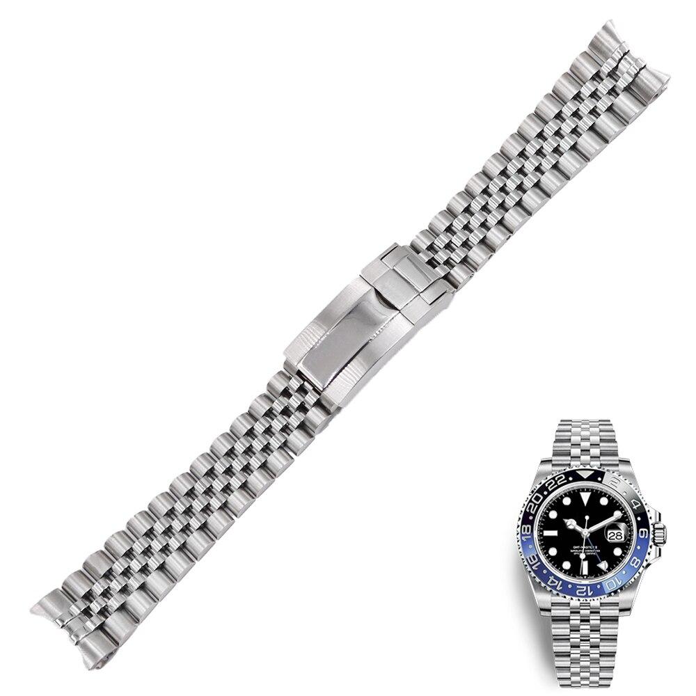 Bracelet de montre de remplacement en acier inoxydable 20mm Bracelet de montre Bracelet jubilé avec fermoir huître pour Rolex GMT Master II