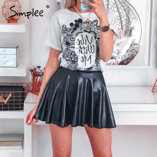 Elegant faux leather women mini skirt