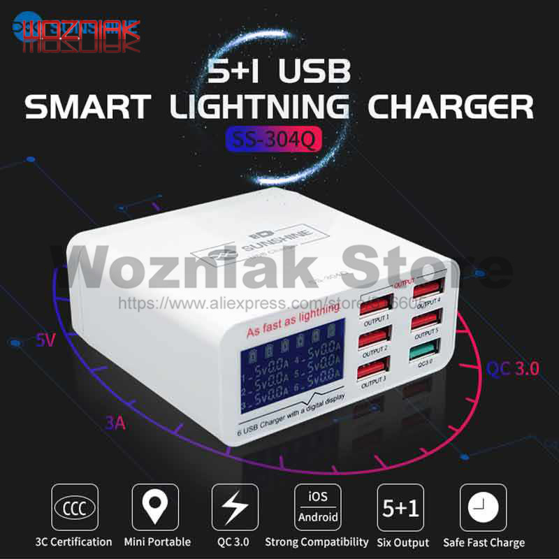 SS-304Q USB Intelligence 2.4A Fast Charging Support QC 3.0 Strong Compatibility For IPAD/iPhone HUAWEI XIAOMI SAMSUNG OPPO VIVO