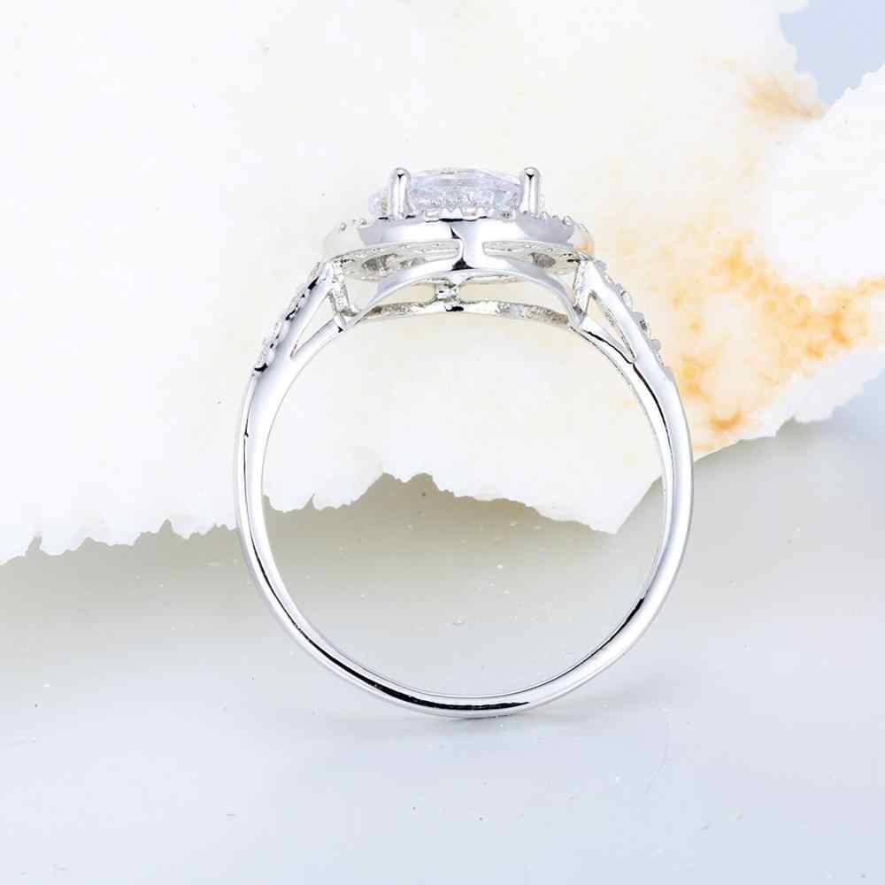 หญิงหรูหราคริสตัล Zircon แหวนหิน Boho 925 เงินเงินสีขาวรอบแหวนสัญญาขนาดใหญ่รักหมั้นแหวน