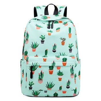 NEW School Bags for Teenage Girls Backpack Women Waterproof Cute Green Cactus Printing Book Bag Female Bagpack Schoolbag