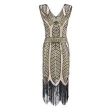 Plus größe frauen Mode 1920s Flapper Kleid Vintage Great Gatsby Charleston Pailletten Quaste 20s Party Kleid