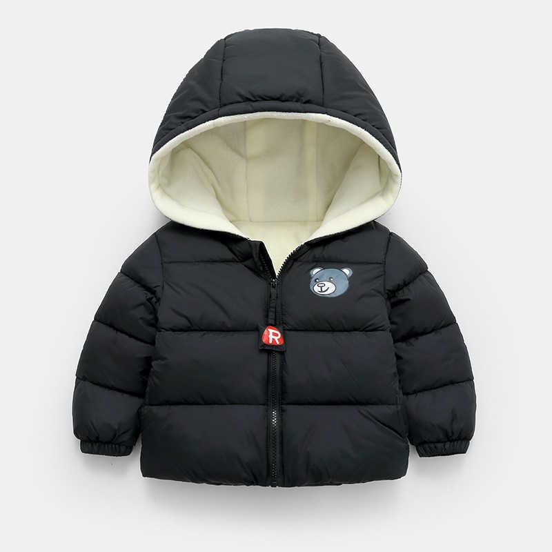 אופנה תינוק מעיל כותנה מרופדת Parka תינוק בני בנות ילדי דוב הדפסת יוניסקס חורף עבה מעיל