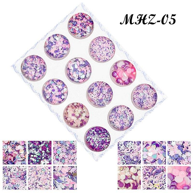 12Pcs Colorful Purple Pink Blue Nail Glitters Set Symphony and colorful series Nail Flake Nail Art Sequins DIY Makeup Decoration