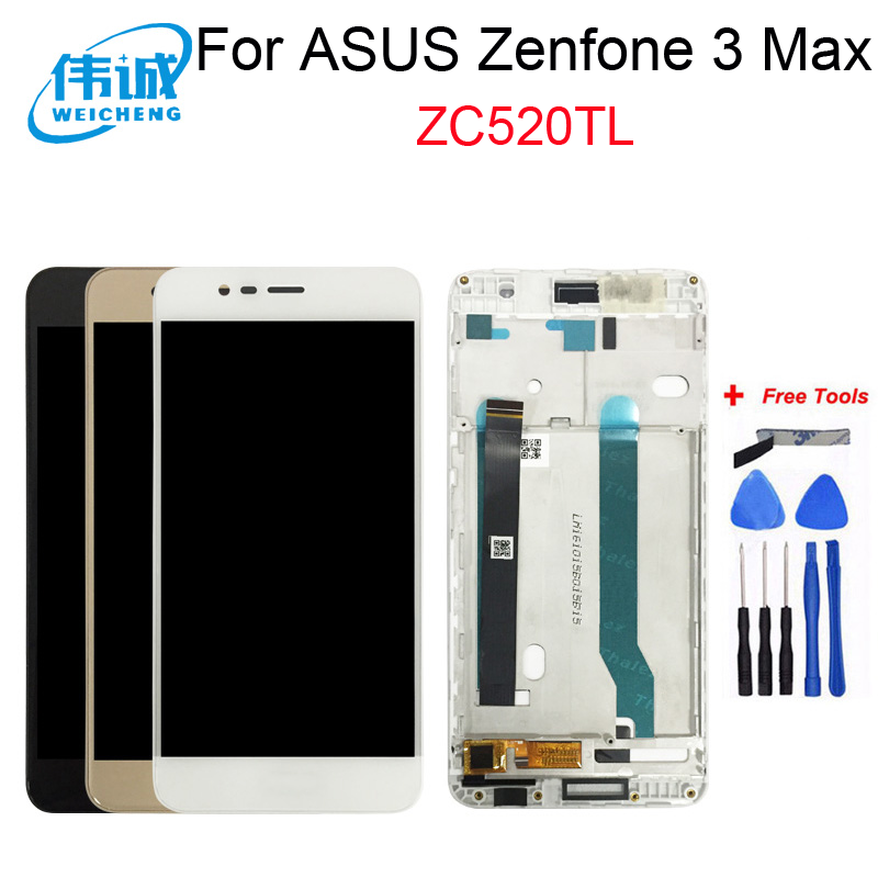 WEICHENG for <font><b>ASUS</b></font> <font><b>Zenfone</b></font> <font><b>3</b></font> <font><b>MAX</b></font> <font><b>ZC520TL</b></font> LCD Display <font><b>Screen</b></font> Digitizer Assembly With Frame <font><b>Replacement</b></font> Accessories + Free tools image