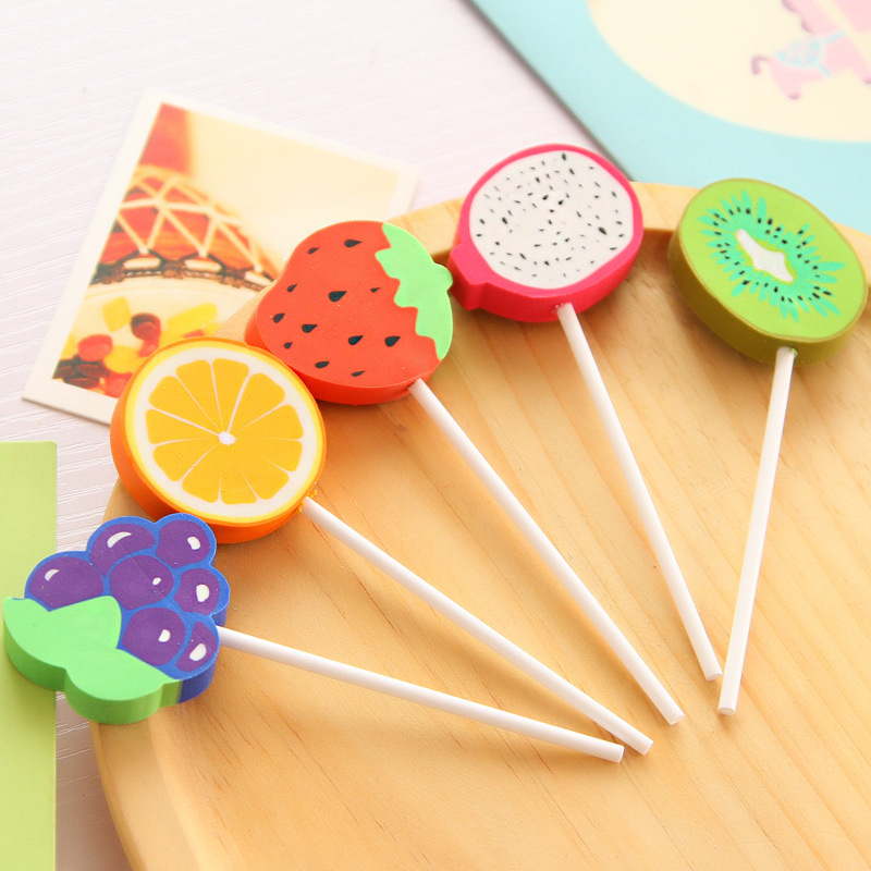 P218 Stationery Manufacturers Direct Selling Creative Fruit Series Lollipop Children Student Eraser Stationery Rubber Wholesale