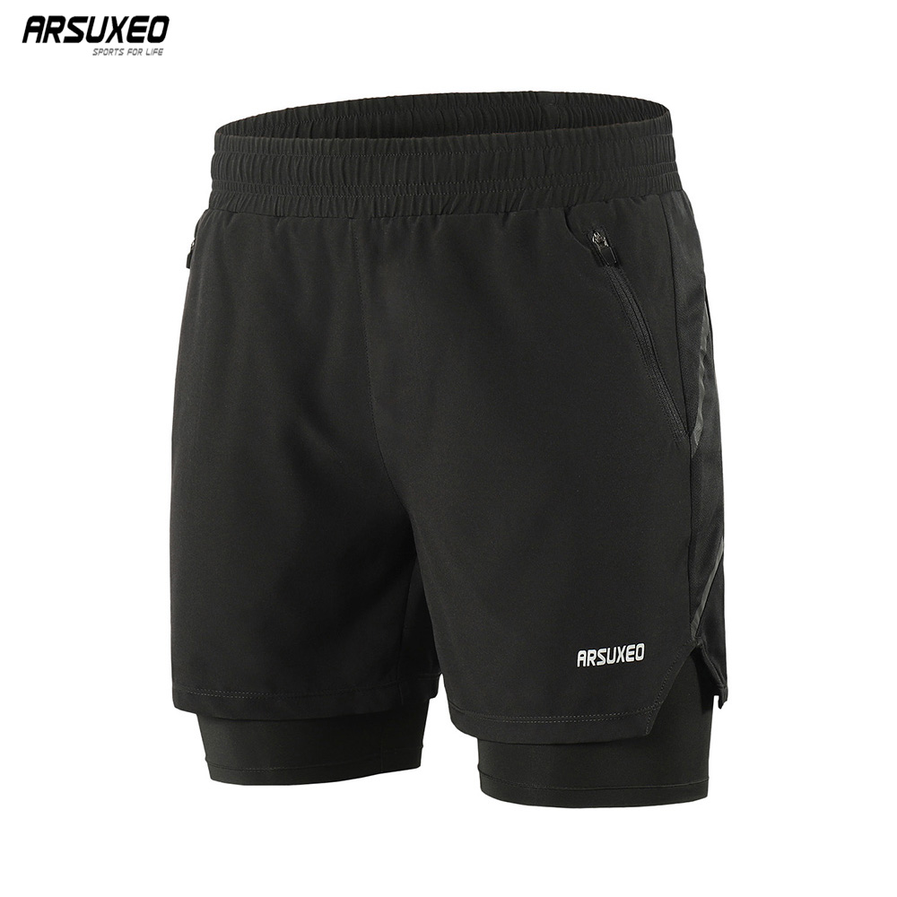 ARSUXEO 2020 Running Shorts Men 2 In 1 Active Training Exercise Jogging Breathable Sports Gym Shorts Quick Drying B191