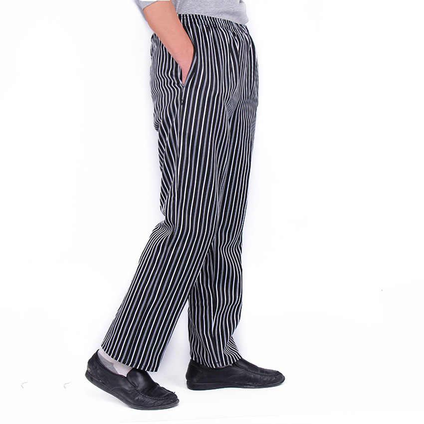 Pantalones de Chef para hombres y adultos, ropa de cocina para restaurante, uniforme de camarero, botones de Chili, pantalones a prueba de aceite para cocinar