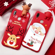 Szczęśliwego nowego roku przypadku prezent dla Huawei Y5P Y6P Y7P Honor 9S 8X 10i 20i 9A 10 20 9 Lite Pro Christmas Deer święty mikołaj etui na telefony tanie tanio Eouine CN (pochodzenie) Candy Color case For Huawei Honor 7X 7S Y5 Y6 Y7 Y9 Prime 2018 2019 Cartoon