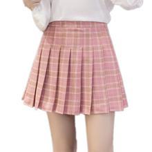 Harajuku Женская мода лето Высокая талия плиссированная юбка ветер Косплей клетчатая юбка каваи женские юбки