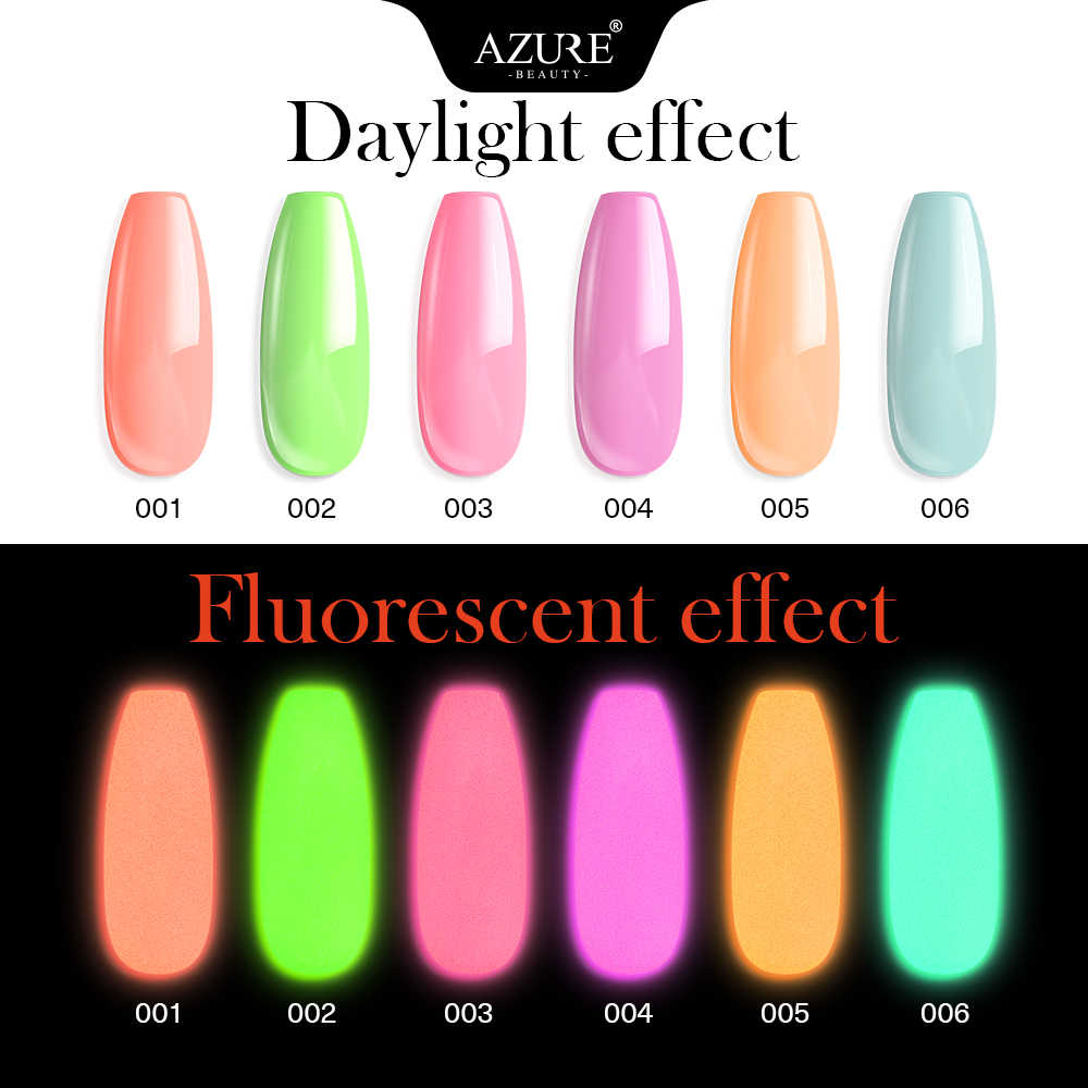 Azure Kecantikan 6 Pcs/lot Luminous Mengkilap Mencelupkan Bubuk Hologram Neon Efek Glitter DIP Bubuk Kuku Kit Base Top Gel