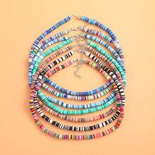 Colar de gargantilha de argila de polímero multicolorido para mulher boho cerâmica macia colar de colar artesanal jóias de férias acessórios de praia
