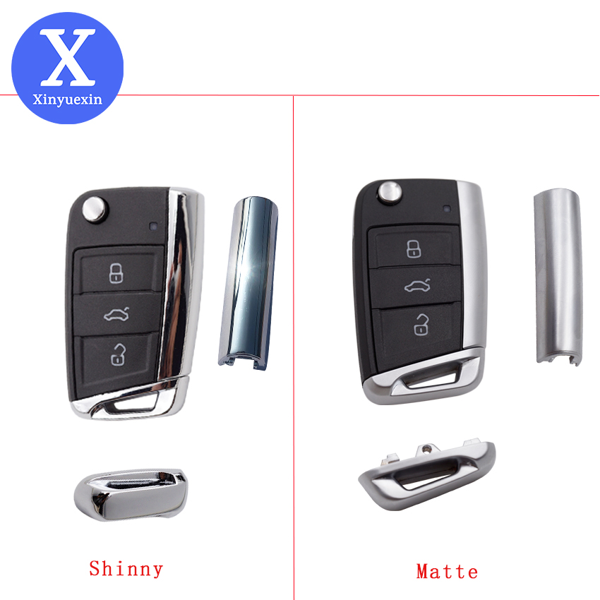 Xinyuexin Folding Car <font><b>Key</b></font> Shell for Vw Gollf <font><b>7</b></font> MK7 for Skoda Octavia A7 for Seat <font><b>Remote</b></font> Keyless Auto Metal Part for <font><b>Golf</b></font> Mk7 image