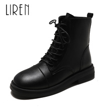 Liren 2019 Spring/Autumn PU Women Fashion Sexy Ankle Lace-up Boots Square Wrapped Toe Low Heels