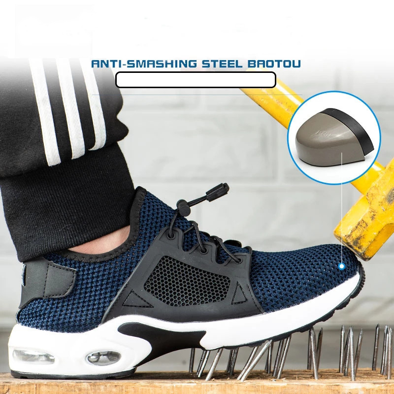 Unisex breathable mesh steel toe work safety shoes sports shoes black blue anti-piercing platform site workers safety boots