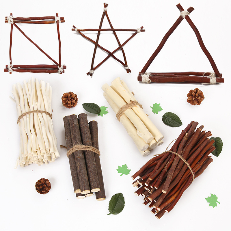 50 Pcs Creative Wooden Stick Natural Branch Tree Bark Log Discs Sticks DIY Craft Supplies For Wedding Party Painting Decoration