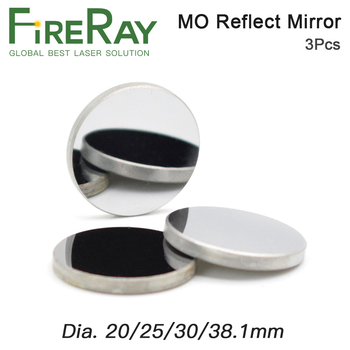 FireRay 3Pcs Mo Reflective Mirror Dia. 20 25 30 38.1mm THK 3mm for CO2 Laser Engraving Cutting Machine fireray co2 laser head set kit 1pcs dia 20mm znse focus lens 3pcs dia 25m mo si mirror 25mm for laser engraving cutting machine