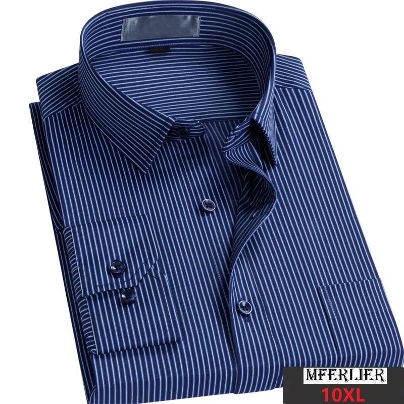 Autumn Men Striped Cotton Shirt Big Size Long Sleeve Father Shirt 5XL 8XL 9XL 10XL Man Dress Shirt Oversize Loose 54 56 58 60 52